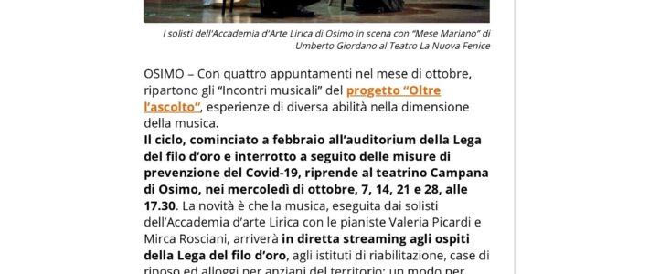 """A Osimo riprende """"Oltre l'Ascolto"""""""