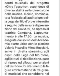 """""""Oltre l'ascolto"""", terzo incontro musicale al Campana"""
