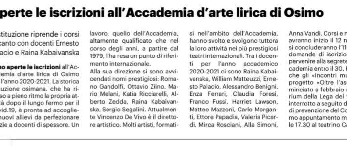 Aperte le iscrizioni all'Accademia d'Arte Lirica di Osimo
