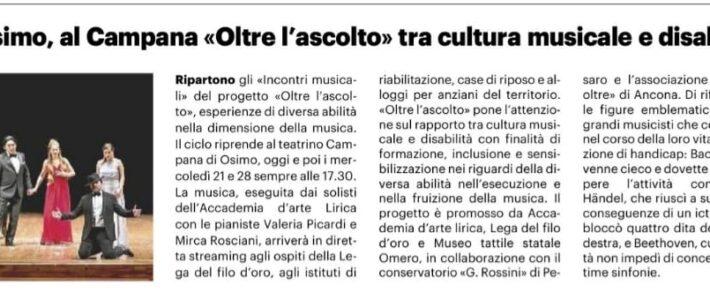 """Osimo, al Campana """"Oltre l'Ascolto""""tra cultura musicale e disabilità"""