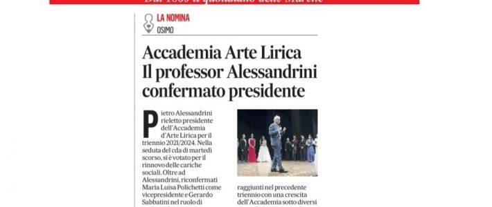 Piero Alessandrini confermato Presidente dell'Accademia